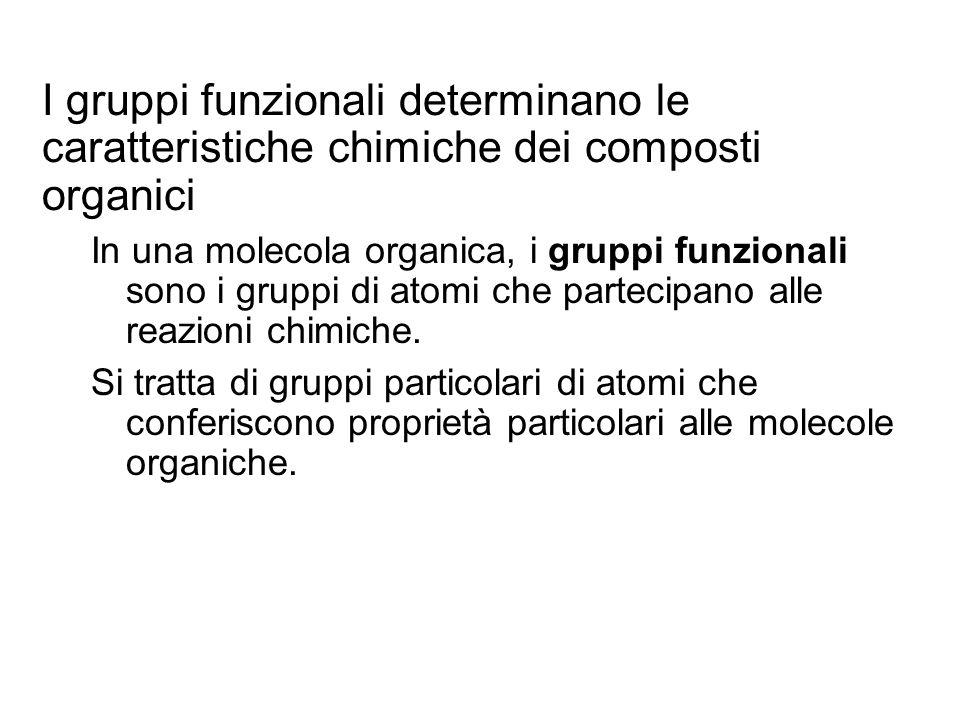 I gruppi funzionali determinano le caratteristiche chimiche dei composti organici In una molecola organica, i gruppi funzionali sono i gruppi di atomi
