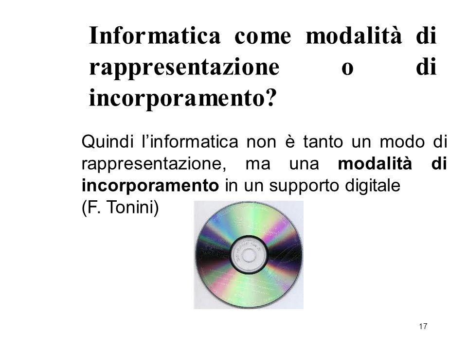 17 Informatica come modalità di rappresentazione o di incorporamento? Quindi l'informatica non è tanto un modo di rappresentazione, ma una modalità di