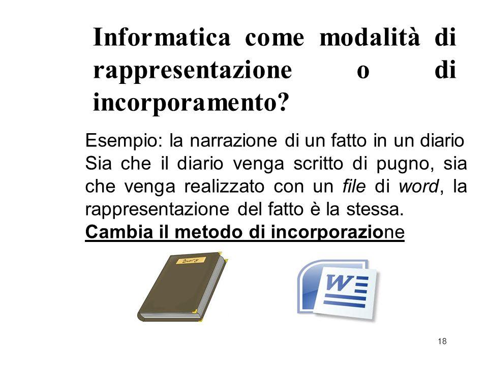 18 Informatica come modalità di rappresentazione o di incorporamento? Esempio: la narrazione di un fatto in un diario Sia che il diario venga scritto