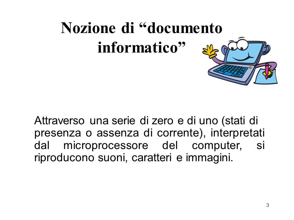 """3 Nozione di """"documento informatico"""" Attraverso una serie di zero e di uno (stati di presenza o assenza di corrente), interpretati dal microprocessore"""