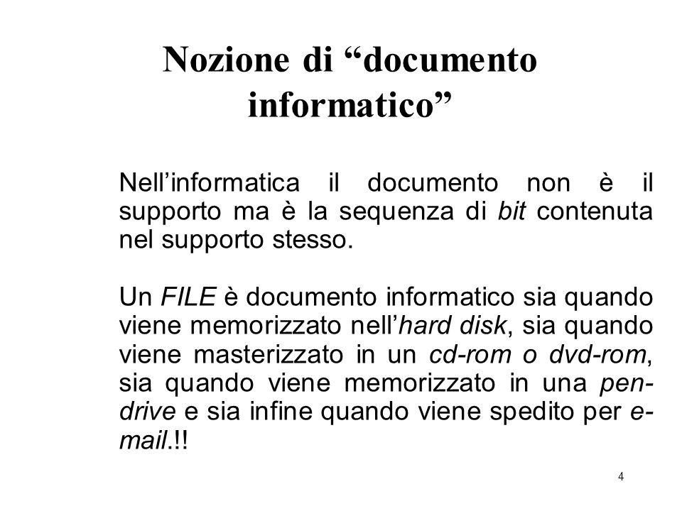 """4 Nozione di """"documento informatico"""" Nell'informatica il documento non è il supporto ma è la sequenza di bit contenuta nel supporto stesso. Un FILE è"""