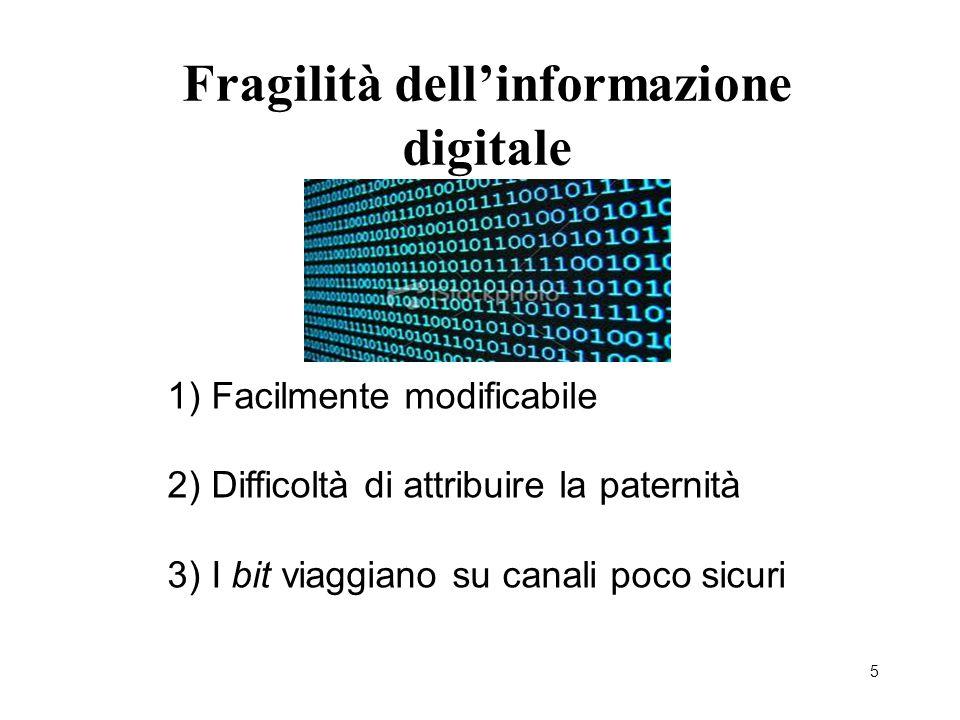 5 Fragilità dell'informazione digitale 1) Facilmente modificabile 2) Difficoltà di attribuire la paternità 3) I bit viaggiano su canali poco sicuri