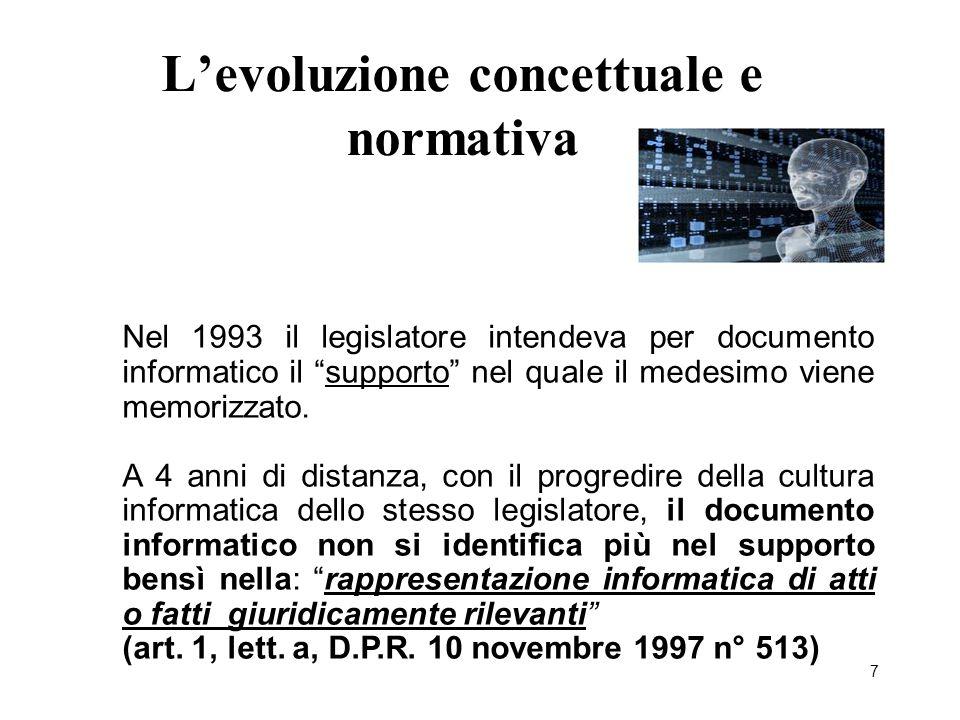"""7 L'evoluzione concettuale e normativa Nel 1993 il legislatore intendeva per documento informatico il """"supporto"""" nel quale il medesimo viene memorizza"""