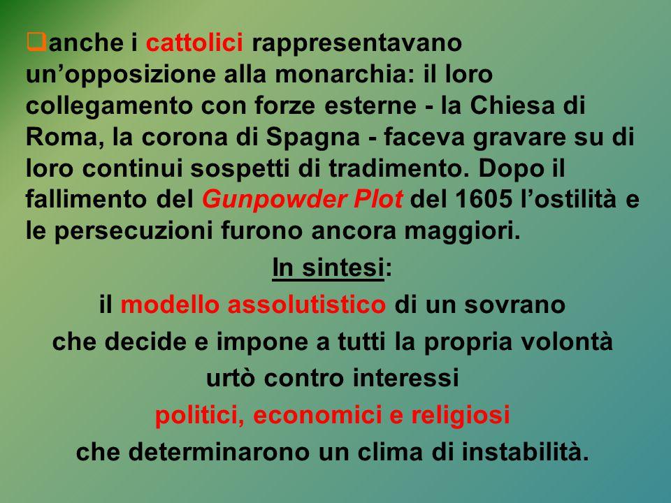  anche i cattolici rappresentavano un'opposizione alla monarchia: il loro collegamento con forze esterne - la Chiesa di Roma, la corona di Spagna - f