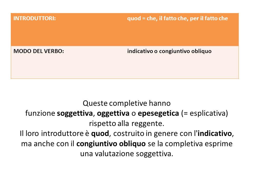 Queste completive hanno funzione soggettiva, oggettiva o epesegetica (= esplicativa) rispetto alla reggente.
