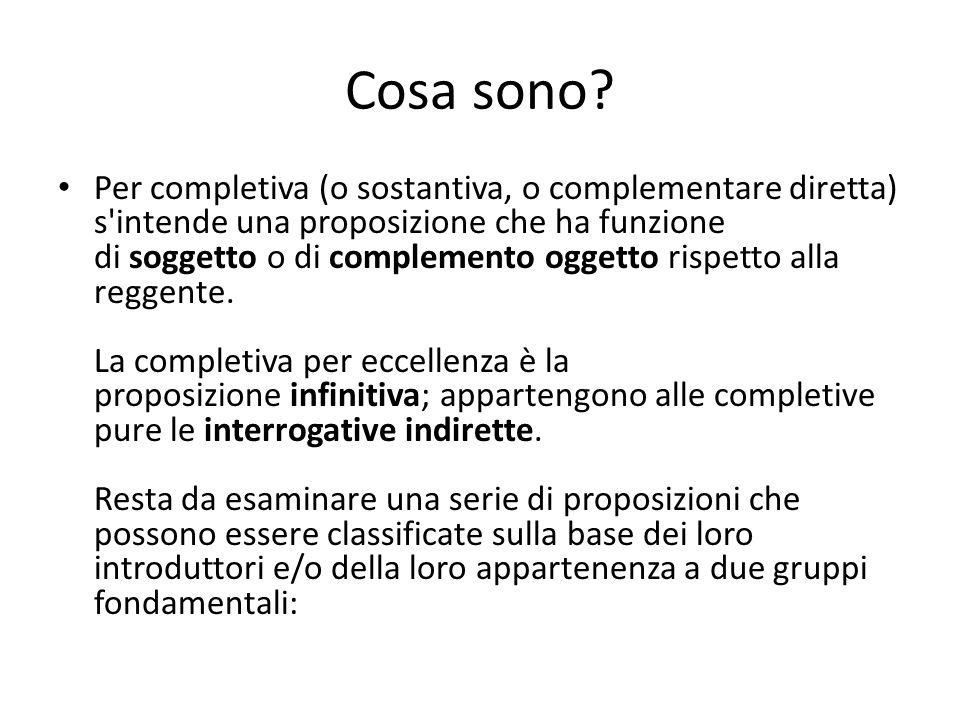 Cosa sono? Per completiva (o sostantiva, o complementare diretta) s'intende una proposizione che ha funzione di soggetto o di complemento oggetto risp