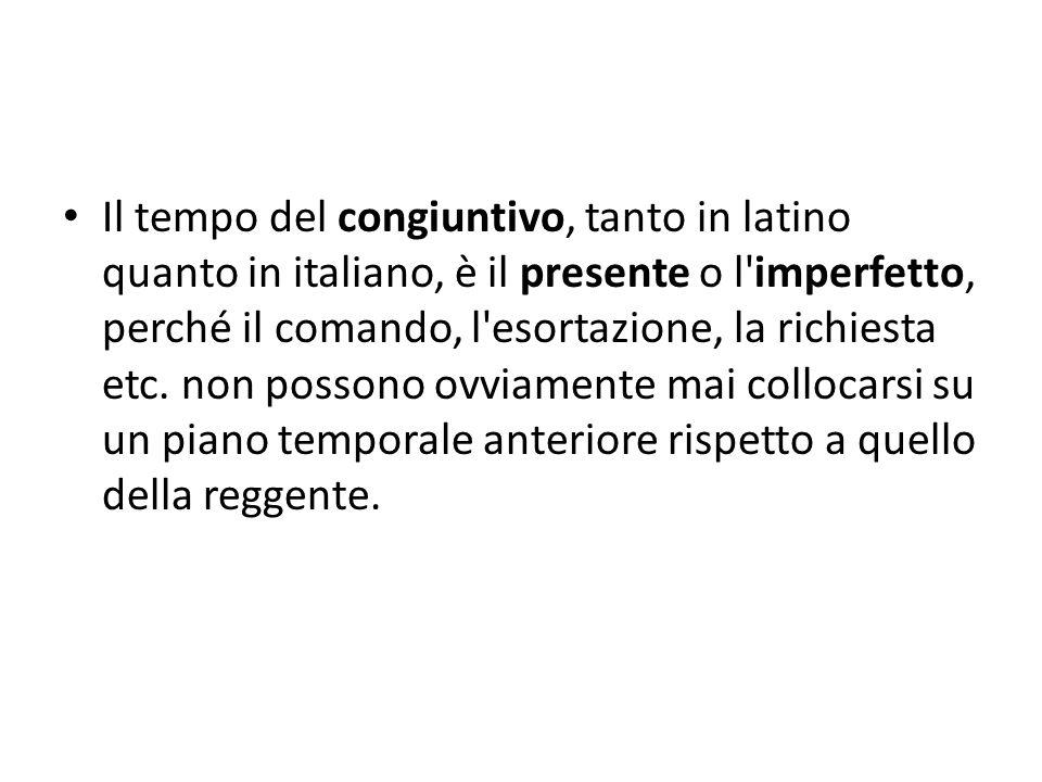 Il tempo del congiuntivo, tanto in latino quanto in italiano, è il presente o l'imperfetto, perché il comando, l'esortazione, la richiesta etc. non po