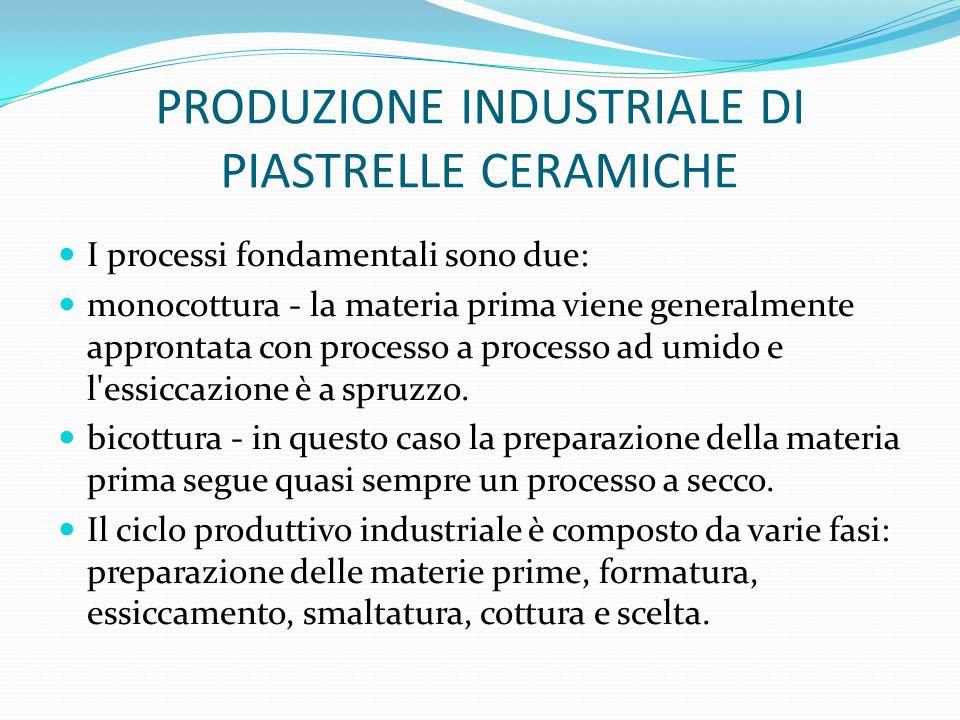 PRODUZIONE INDUSTRIALE DI PIASTRELLE CERAMICHE I processi fondamentali sono due: monocottura - la materia prima viene generalmente approntata con proc
