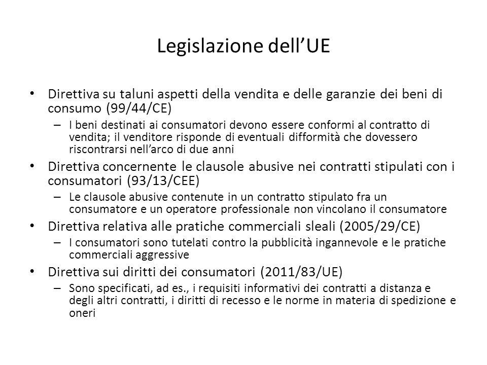 Legislazione dell'UE Direttiva su taluni aspetti della vendita e delle garanzie dei beni di consumo (99/44/CE) – I beni destinati ai consumatori devono essere conformi al contratto di vendita; il venditore risponde di eventuali difformità che dovessero riscontrarsi nell'arco di due anni Direttiva concernente le clausole abusive nei contratti stipulati con i consumatori (93/13/CEE) – Le clausole abusive contenute in un contratto stipulato fra un consumatore e un operatore professionale non vincolano il consumatore Direttiva relativa alle pratiche commerciali sleali (2005/29/CE) – I consumatori sono tutelati contro la pubblicità ingannevole e le pratiche commerciali aggressive Direttiva sui diritti dei consumatori (2011/83/UE) – Sono specificati, ad es., i requisiti informativi dei contratti a distanza e degli altri contratti, i diritti di recesso e le norme in materia di spedizione e oneri