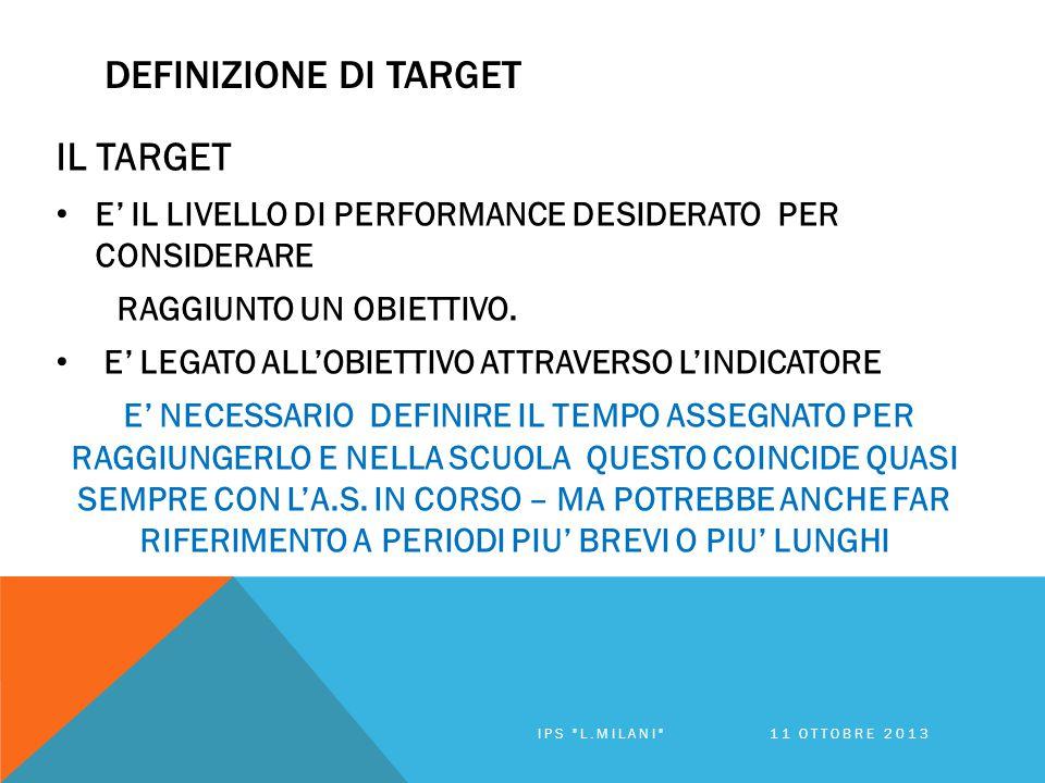 DEFINIZIONE DI TARGET IL TARGET E' IL LIVELLO DI PERFORMANCE DESIDERATO PER CONSIDERARE RAGGIUNTO UN OBIETTIVO.