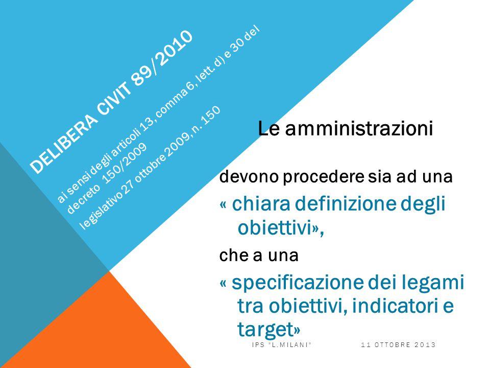 DELIBERA CIVIT 89/2010 Le amministrazioni devono procedere sia ad una « chiara definizione degli obiettivi», che a una « specificazione dei legami tra obiettivi, indicatori e target» ai sensi degli articoli 13, comma 6, lett.