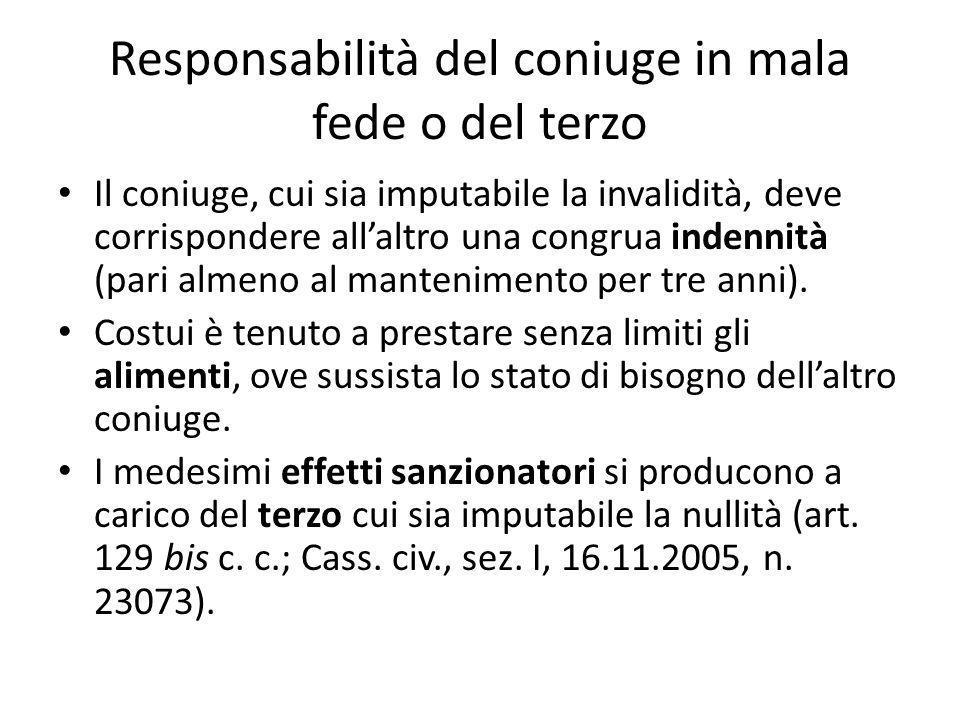 Responsabilità del coniuge in mala fede o del terzo Il coniuge, cui sia imputabile la invalidità, deve corrispondere all'altro una congrua indennità (