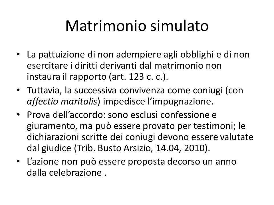 Matrimonio simulato La pattuizione di non adempiere agli obblighi e di non esercitare i diritti derivanti dal matrimonio non instaura il rapporto (art