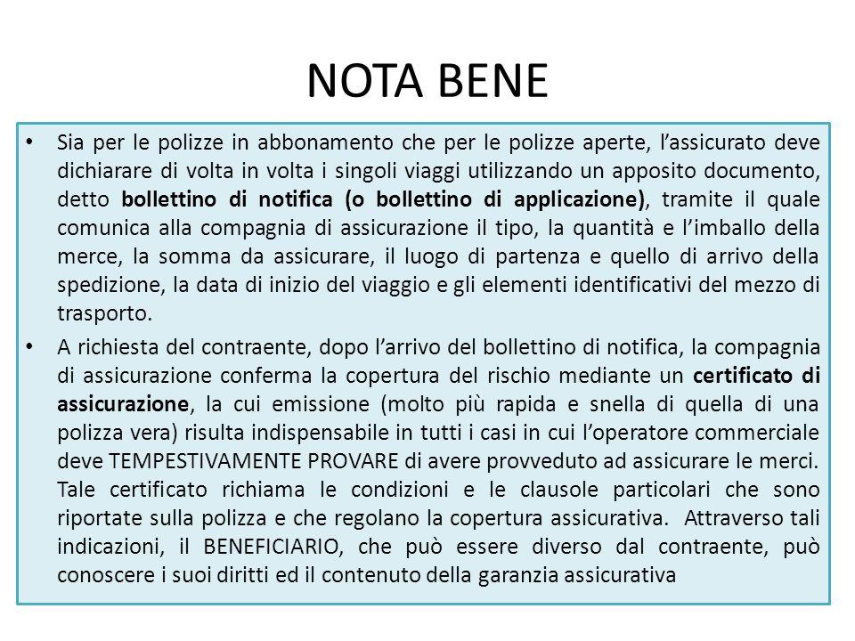 NOTA BENE Sia per le polizze in abbonamento che per le polizze aperte, l'assicurato deve dichiarare di volta in volta i singoli viaggi utilizzando un