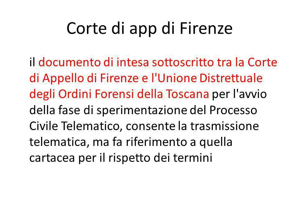 Corte di app di Firenze il documento di intesa sottoscritto tra la Corte di Appello di Firenze e l'Unione Distrettuale degli Ordini Forensi della Tosc