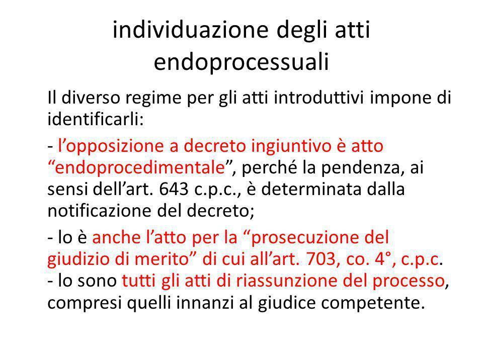 individuazione degli atti endoprocessuali Il diverso regime per gli atti introduttivi impone di identificarli: - l'opposizione a decreto ingiuntivo è