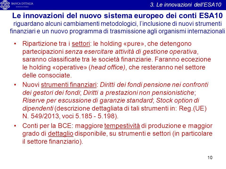Le innovazioni del nuovo sistema europeo dei conti ESA10 riguardano alcuni cambiamenti metodologici, l'inclusione di nuovi strumenti finanziari e un n