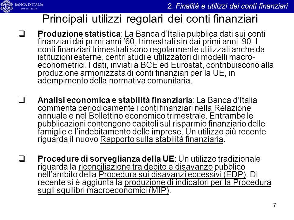 Principali utilizzi regolari dei conti finanziari 7  Produzione statistica: La Banca d'Italia pubblica dati sui conti finanziari dai primi anni '60,