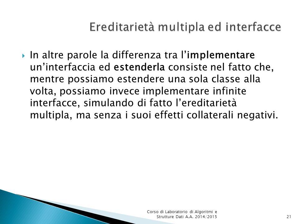  In altre parole la differenza tra l'implementare un'interfaccia ed estenderla consiste nel fatto che, mentre possiamo estendere una sola classe alla volta, possiamo invece implementare infinite interfacce, simulando di fatto l'ereditarietà multipla, ma senza i suoi effetti collaterali negativi.