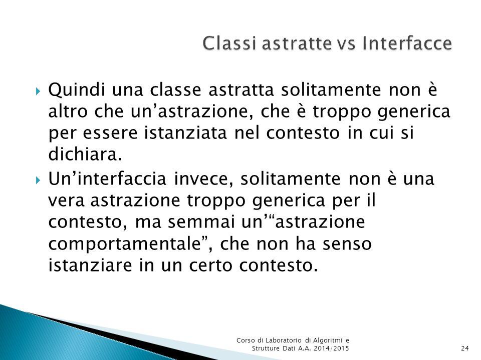  Quindi una classe astratta solitamente non è altro che un'astrazione, che è troppo generica per essere istanziata nel contesto in cui si dichiara.
