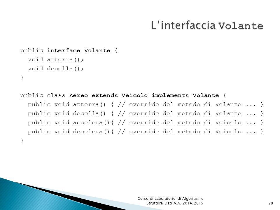 public interface Volante { void atterra(); void decolla(); } public class Aereo extends Veicolo implements Volante { public void atterra() { // override del metodo di Volante...