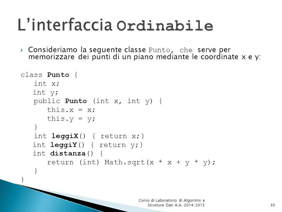  Consideriamo la seguente classe Punto, che serve per memorizzare dei punti di un piano mediante le coordinate x e y: class Punto { int x; int y; public Punto (int x, int y) { this.x = x; this.y = y; } int leggiX() { return x;} int leggiY() { return y;} int distanza() { return (int) Math.sqrt(x * x + y * y); } Corso di Laboratorio di Algoritmi e Strutture Dati A.A.