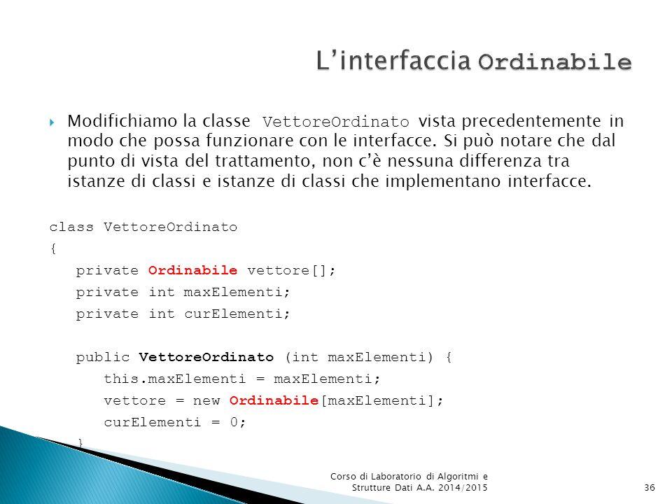  Modifichiamo la classe VettoreOrdinato vista precedentemente in modo che possa funzionare con le interfacce.