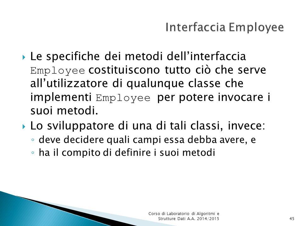  Le specifiche dei metodi dell'interfaccia Employee costituiscono tutto ciò che serve all'utilizzatore di qualunque classe che implementi Employee per potere invocare i suoi metodi.
