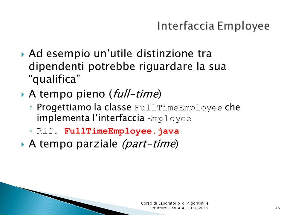  Ad esempio un'utile distinzione tra dipendenti potrebbe riguardare la sua qualifica  A tempo pieno (full-time) ◦ Progettiamo la classe FullTimeEmployee che implementa l'interfaccia Employee ◦ Rif.