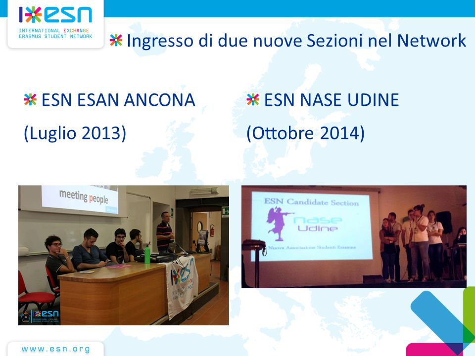 ESN ESAN ANCONA (Luglio 2013) ESN NASE UDINE (Ottobre 2014) Ingresso di due nuove Sezioni nel Network