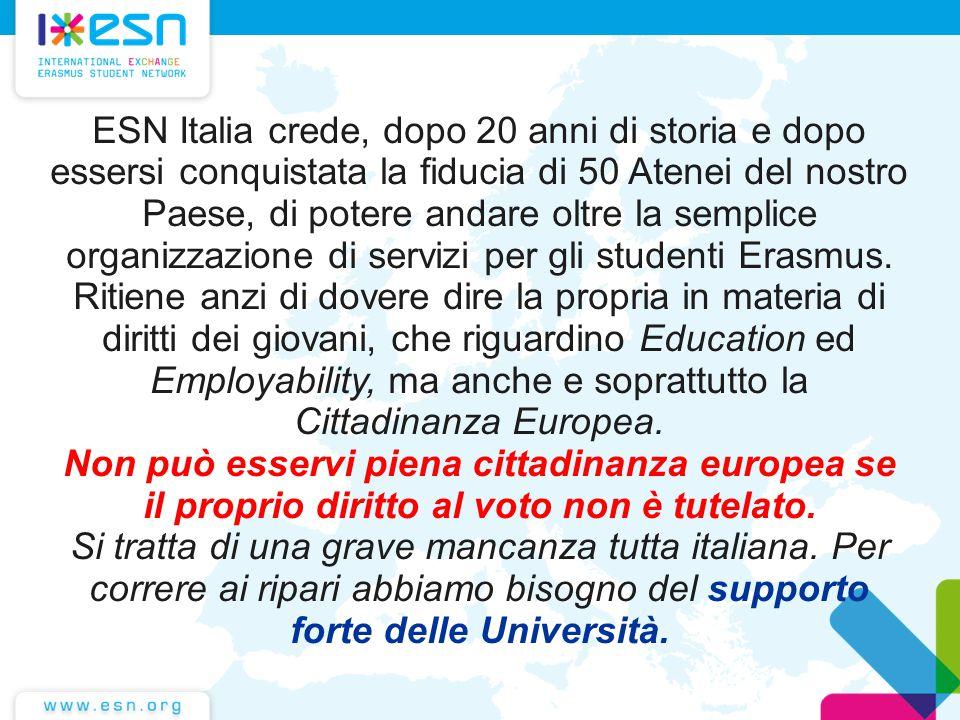ESN Italia crede, dopo 20 anni di storia e dopo essersi conquistata la fiducia di 50 Atenei del nostro Paese, di potere andare oltre la semplice organizzazione di servizi per gli studenti Erasmus.