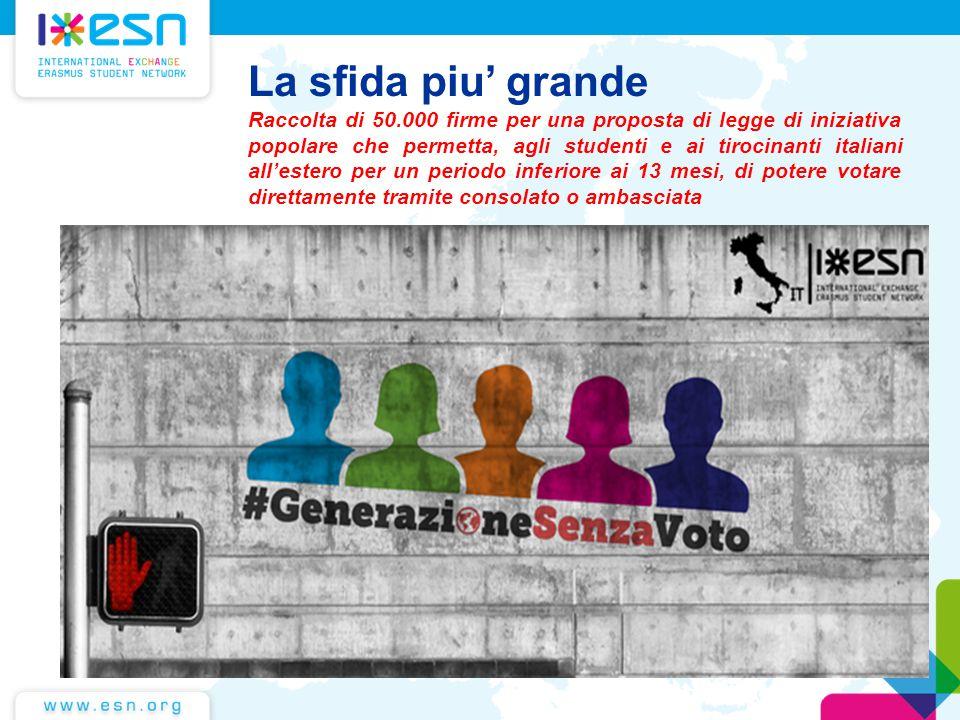 La sfida piu' grande Raccolta di 50.000 firme per una proposta di legge di iniziativa popolare che permetta, agli studenti e ai tirocinanti italiani a
