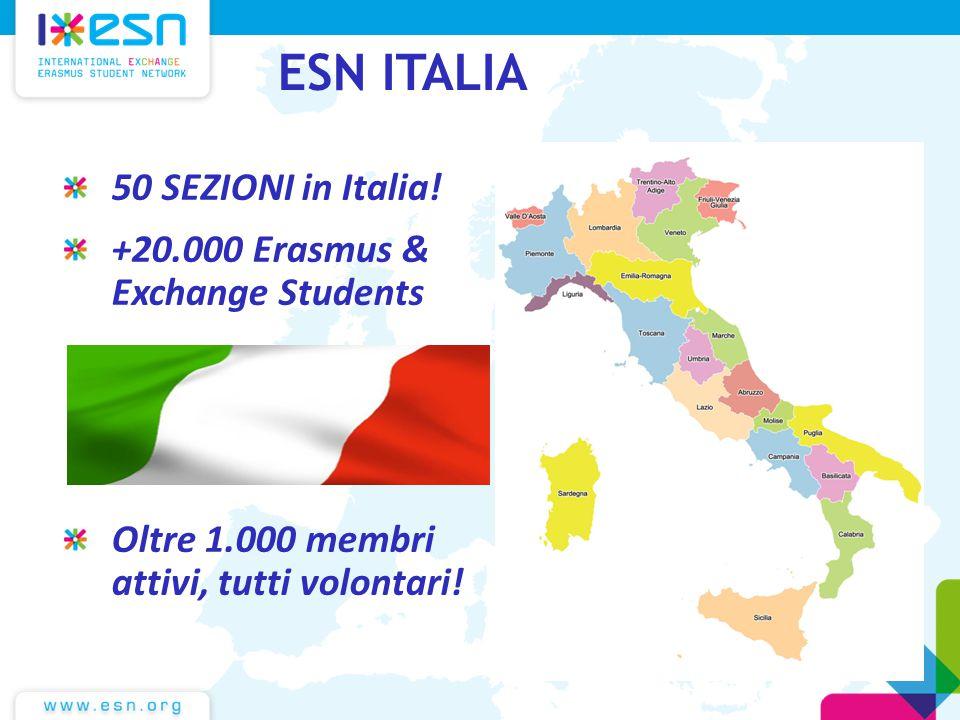 ESN ITALIA 50 SEZIONI in Italia! +20.000 Erasmus & Exchange Students Oltre 1.000 membri attivi, tutti volontari!