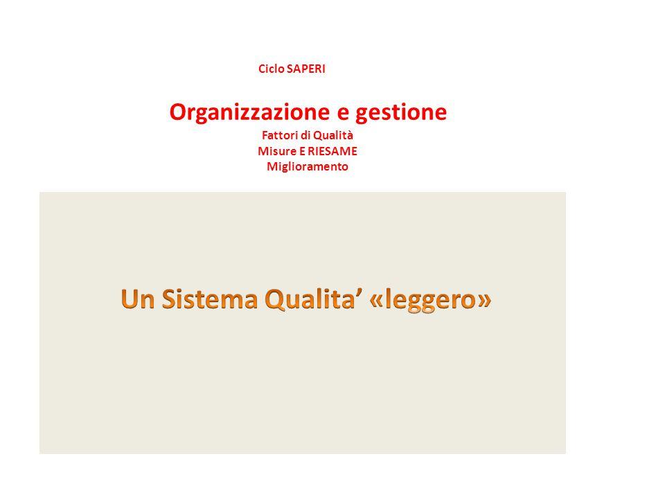 Ciclo SAPERI Organizzazione e gestione Fattori di Qualità Misure E RIESAME Miglioramento