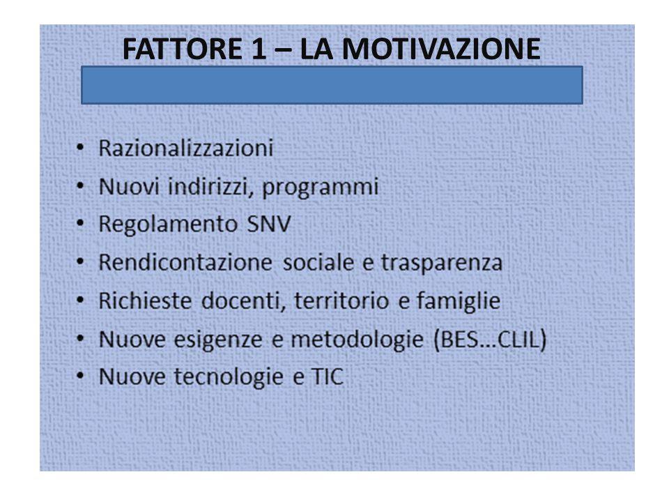 FATTORE 1 – LA MOTIVAZIONE