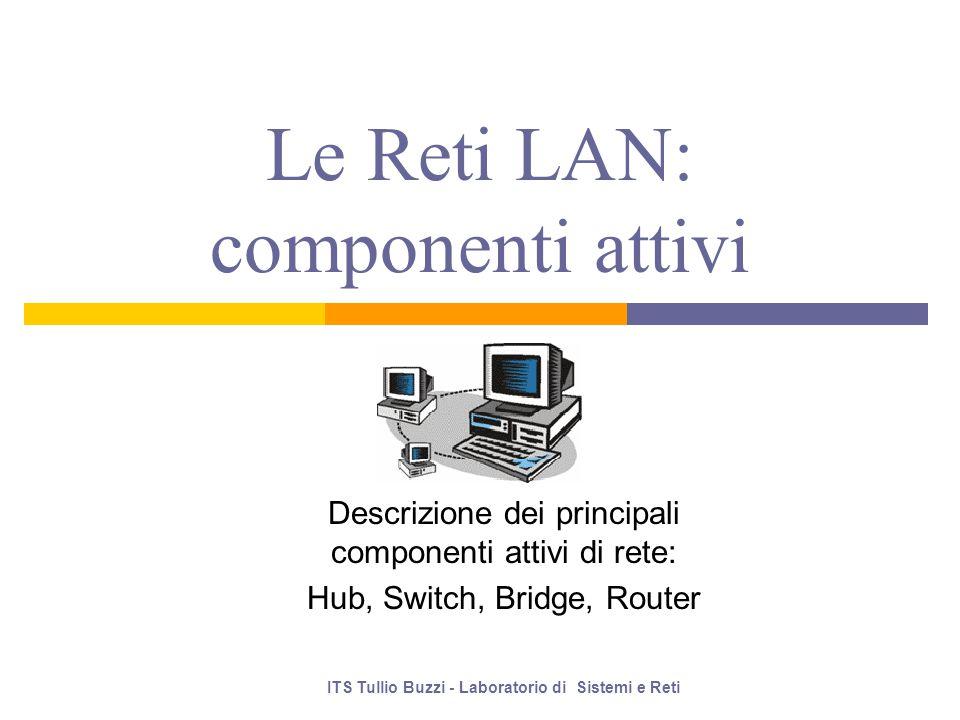 Le Reti LAN: componenti attivi Descrizione dei principali componenti attivi di rete: Hub, Switch, Bridge, Router ITS Tullio Buzzi - Laboratorio di Sistemi e Reti