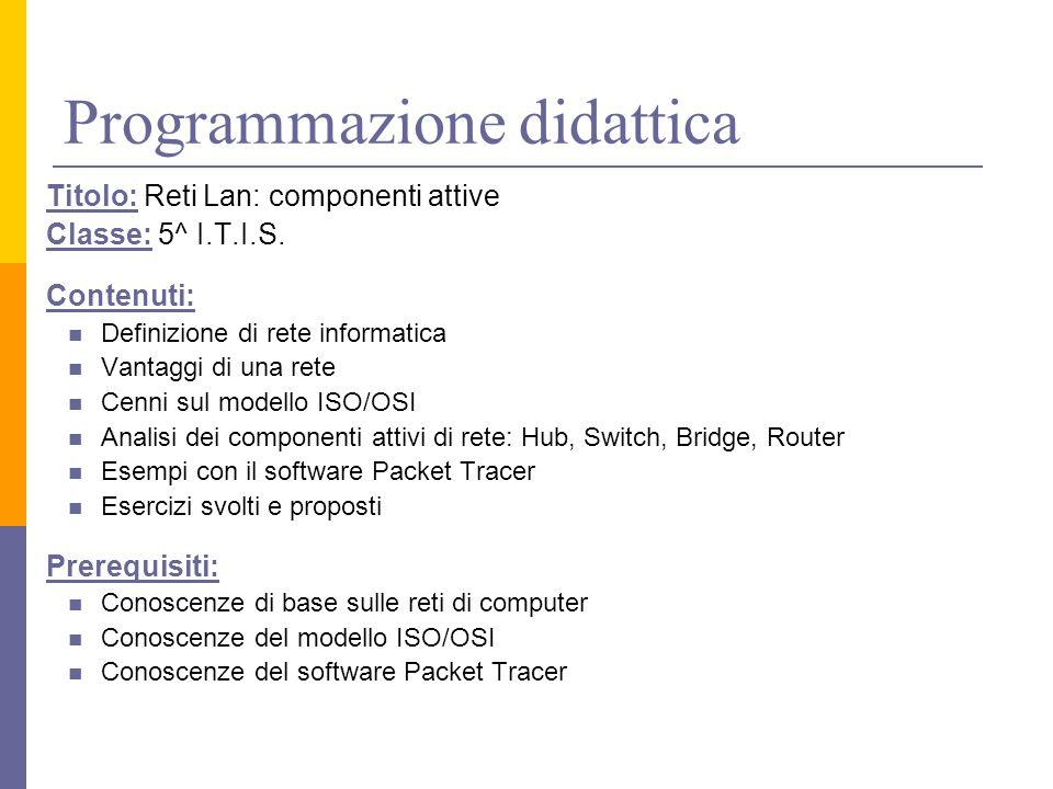 Programmazione didattica Titolo: Reti Lan: componenti attive Classe: 5^ I.T.I.S. Contenuti: Definizione di rete informatica Vantaggi di una rete Cenni