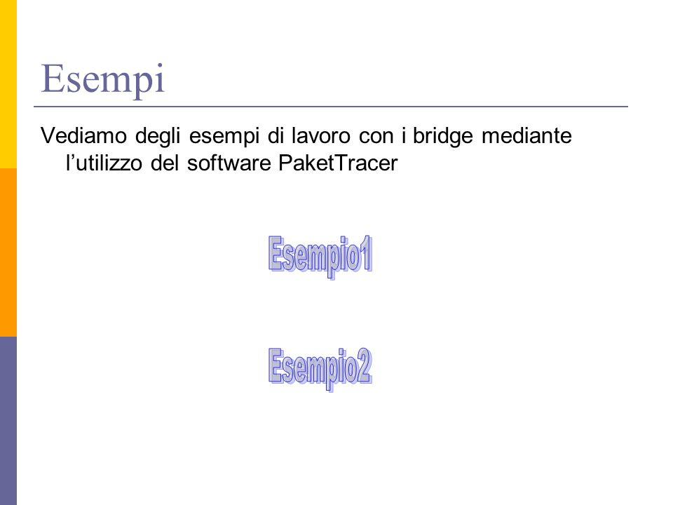 Esempi Vediamo degli esempi di lavoro con i bridge mediante l'utilizzo del software PaketTracer