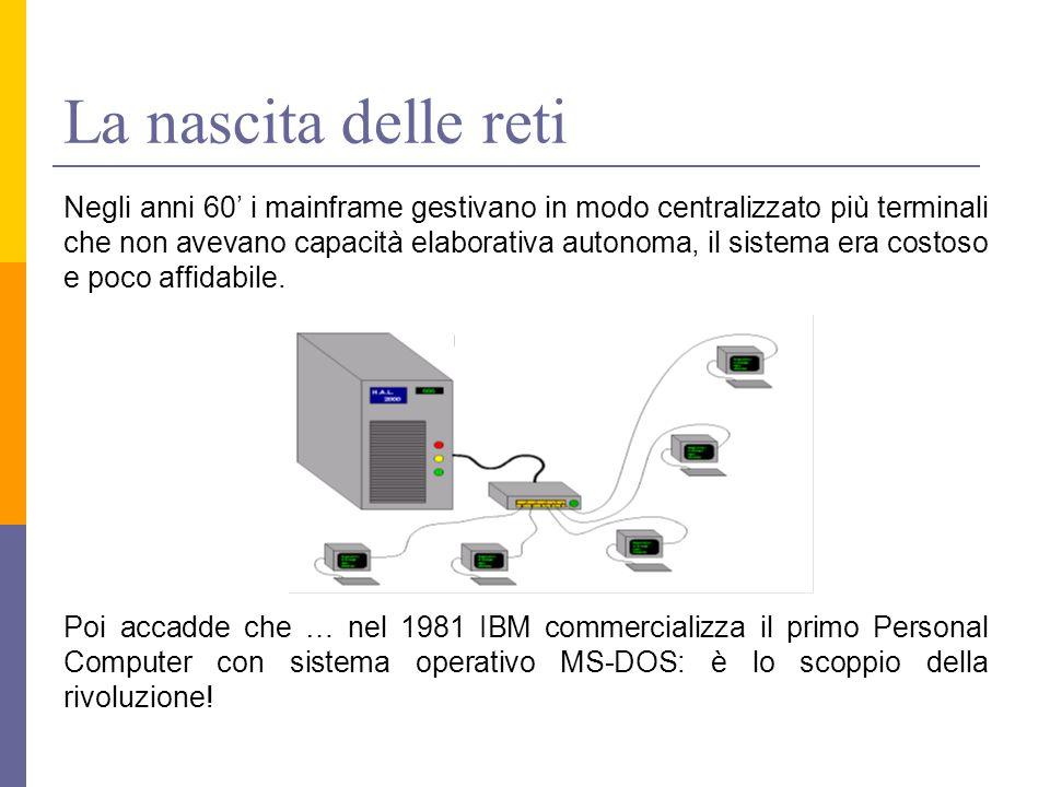 La nascita delle reti Negli anni 60' i mainframe gestivano in modo centralizzato più terminali che non avevano capacità elaborativa autonoma, il sistema era costoso e poco affidabile.
