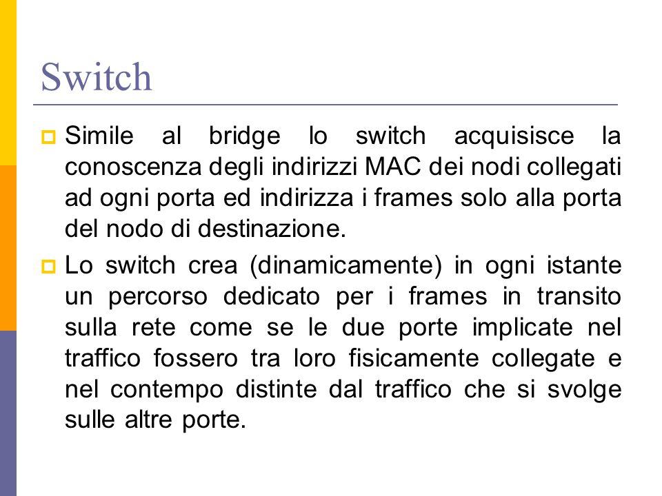 Switch  Simile al bridge lo switch acquisisce la conoscenza degli indirizzi MAC dei nodi collegati ad ogni porta ed indirizza i frames solo alla porta del nodo di destinazione.