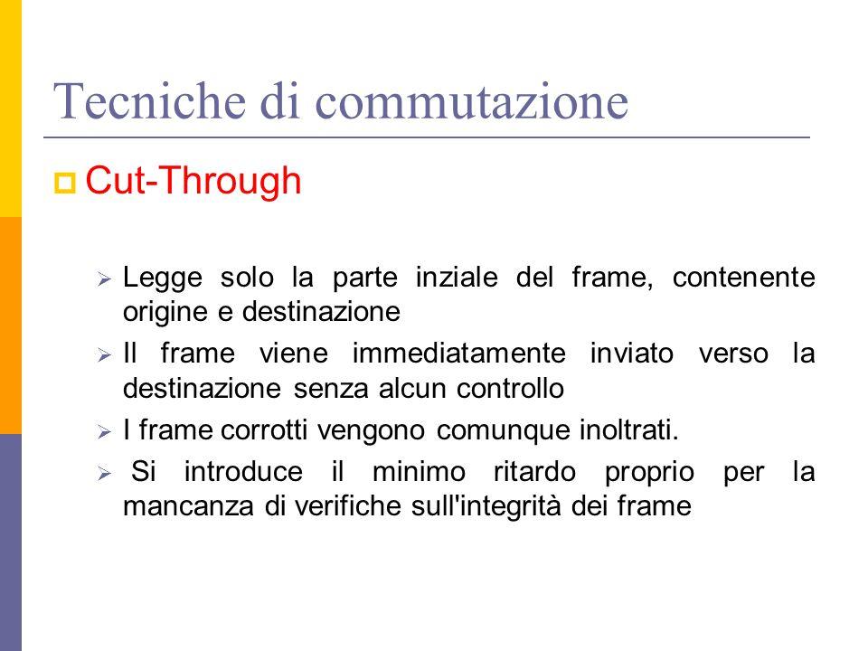 Tecniche di commutazione  Cut-Through  Legge solo la parte inziale del frame, contenente origine e destinazione  Il frame viene immediatamente inviato verso la destinazione senza alcun controllo  I frame corrotti vengono comunque inoltrati.