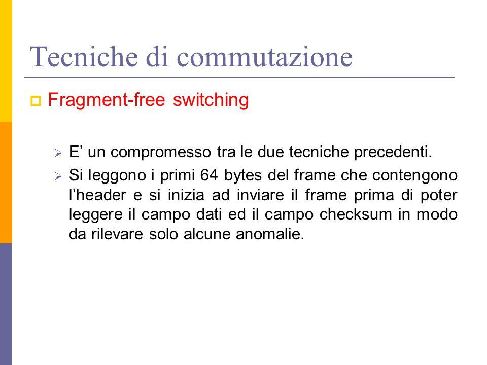 Tecniche di commutazione  Fragment-free switching  E' un compromesso tra le due tecniche precedenti.  Si leggono i primi 64 bytes del frame che con