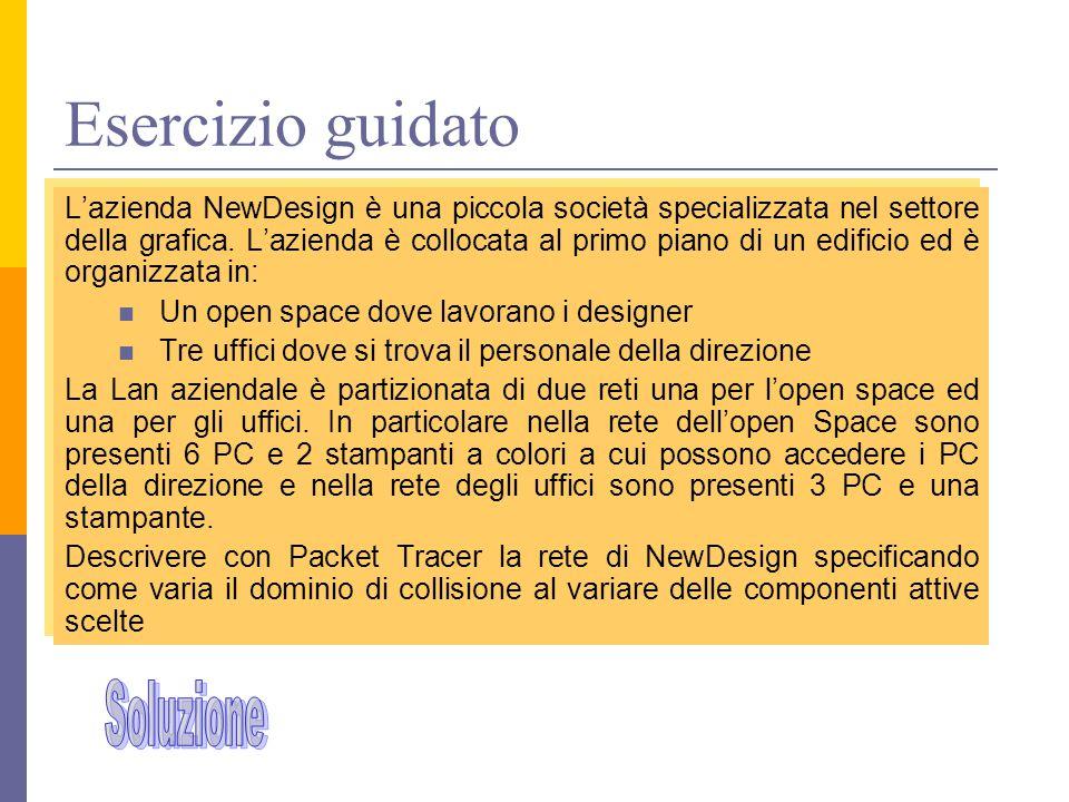 Esercizio guidato L'azienda NewDesign è una piccola società specializzata nel settore della grafica. L'azienda è collocata al primo piano di un edific