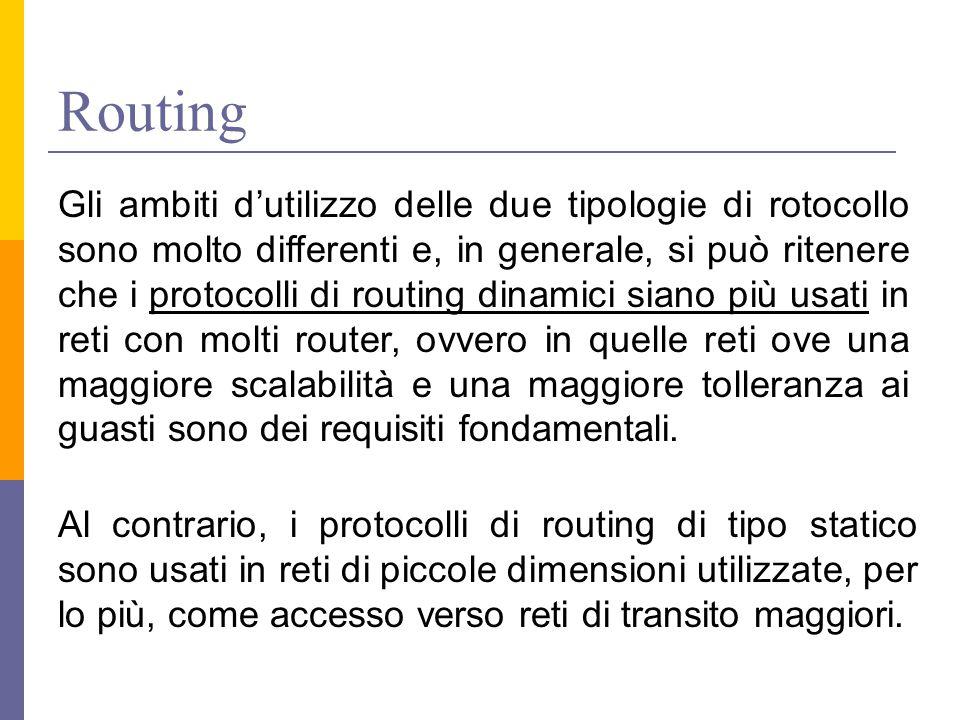 Routing Gli ambiti d'utilizzo delle due tipologie di rotocollo sono molto differenti e, in generale, si può ritenere che i protocolli di routing dinam