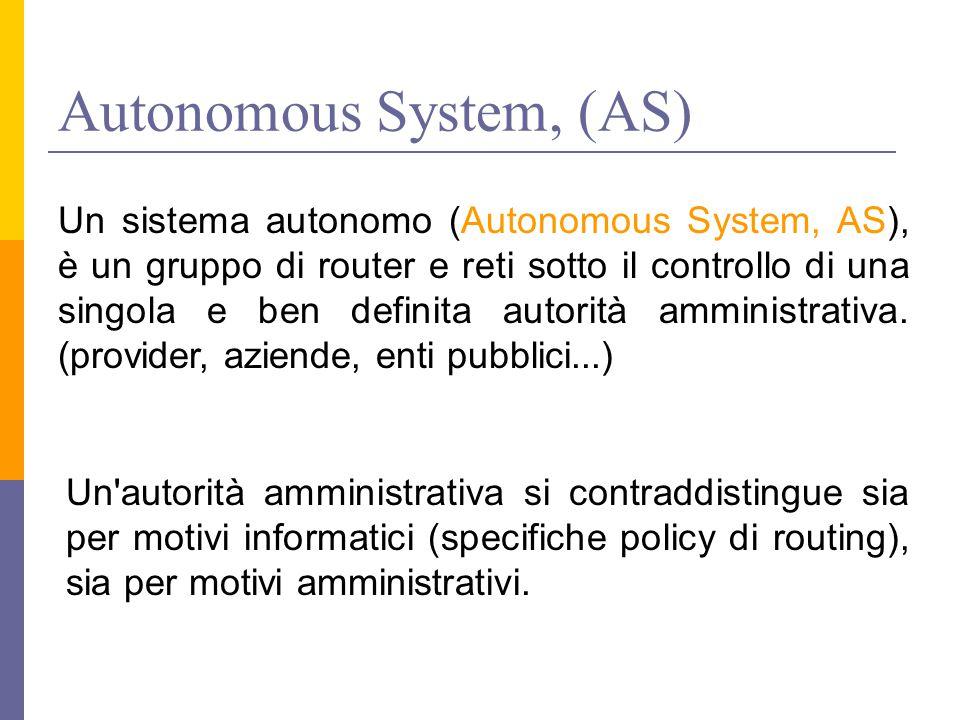 Autonomous System, (AS) Un sistema autonomo (Autonomous System, AS), è un gruppo di router e reti sotto il controllo di una singola e ben definita autorità amministrativa.