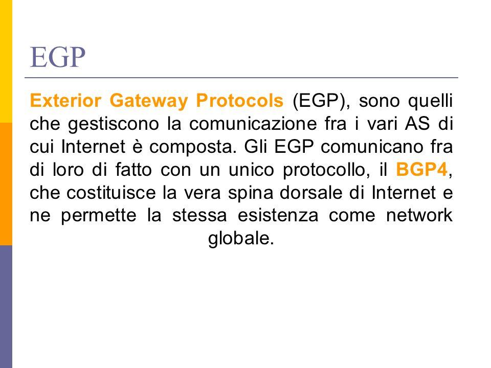 EGP Exterior Gateway Protocols (EGP), sono quelli che gestiscono la comunicazione fra i vari AS di cui Internet è composta. Gli EGP comunicano fra di