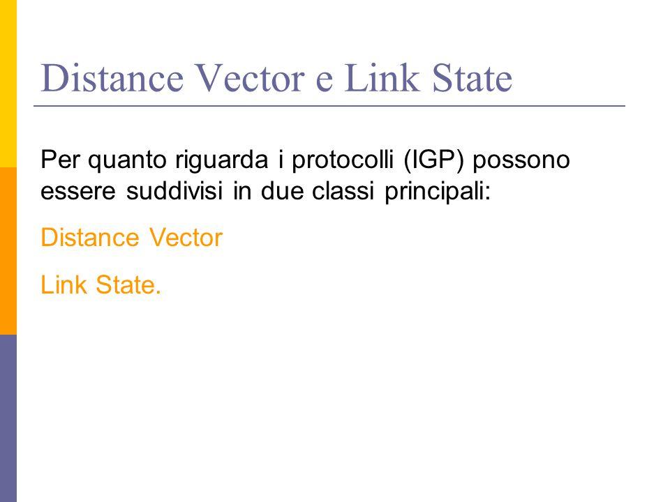 Distance Vector e Link State Per quanto riguarda i protocolli (IGP) possono essere suddivisi in due classi principali: Distance Vector Link State.