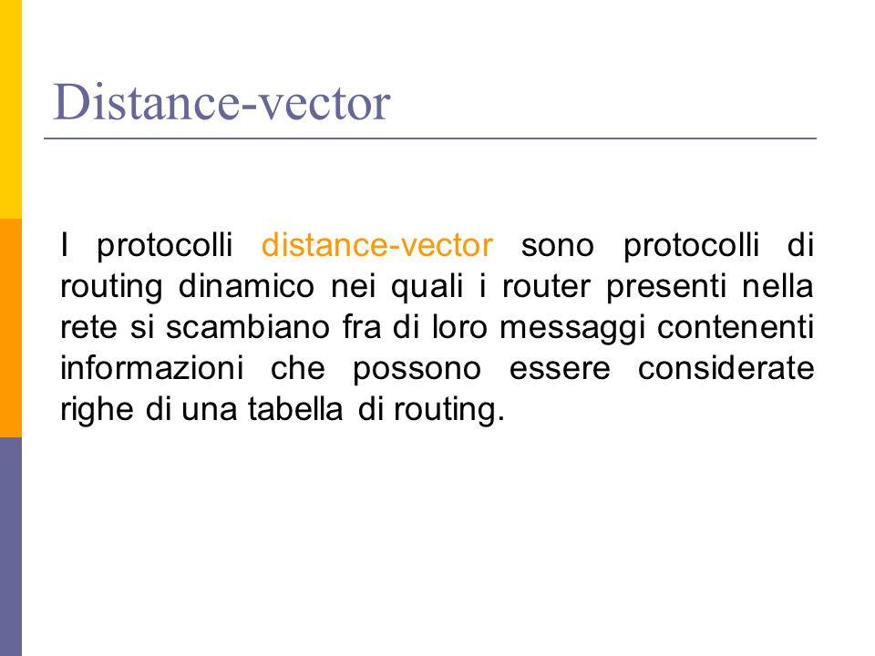 Distance-vector I protocolli distance-vector sono protocolli di routing dinamico nei quali i router presenti nella rete si scambiano fra di loro messaggi contenenti informazioni che possono essere considerate righe di una tabella di routing.