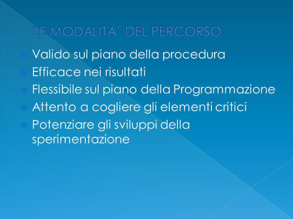  Valido sul piano della procedura  Efficace nei risultati  Flessibile sul piano della Programmazione  Attento a cogliere gli elementi critici  Potenziare gli sviluppi della sperimentazione