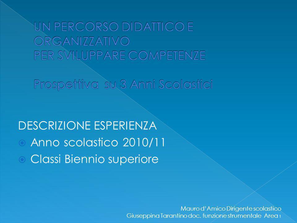 DESCRIZIONE ESPERIENZA  Anno scolastico 2010/11  Classi Biennio superiore Mauro d'Amico Dirigente scolastico Giuseppina Tarantino doc.